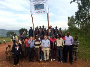 Michael Fichtenberg, Managing Director of GWG Burundi, pictured here with Hon. Jean-Jacques Nyenimigabo, Advisor to the President, representatives of the Polytechnic University of Gitega, Omer Ndayishimiye Representative to the Gitega Municipal Council, (and, not pictured, Erica Kira, land owner of the project site,) hopes that 14% of Burundi's power will be provided by the sun by next year.
