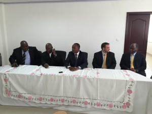 Pictured from left to right: Director General of REGIDESO: Jeroboam Nzikobanyanka; Minister of Finance: Hon. Tabu Abdallah Manirakiza; Minister of Energy and Mines: Hon. Come Manirakiza; Managing Director of Gigawatt Global Burundi: Mr. Michael Fichtenberg; Netherlands Ambassador to Burundi: Mr. Jolke Oppewal